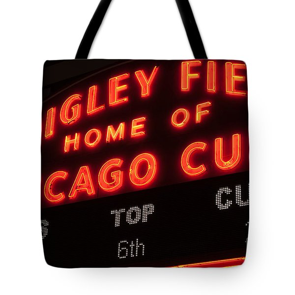 Wrigley Field Sign At Night Tote Bag by Paul Velgos