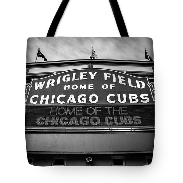 Wrigley Field Sign in Black and White Tote Bag by Paul Velgos