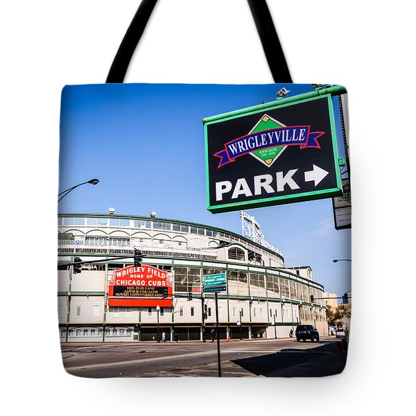 Wrigleyville Sign And Wrigley Field In Chicago Tote Bag by Paul Velgos