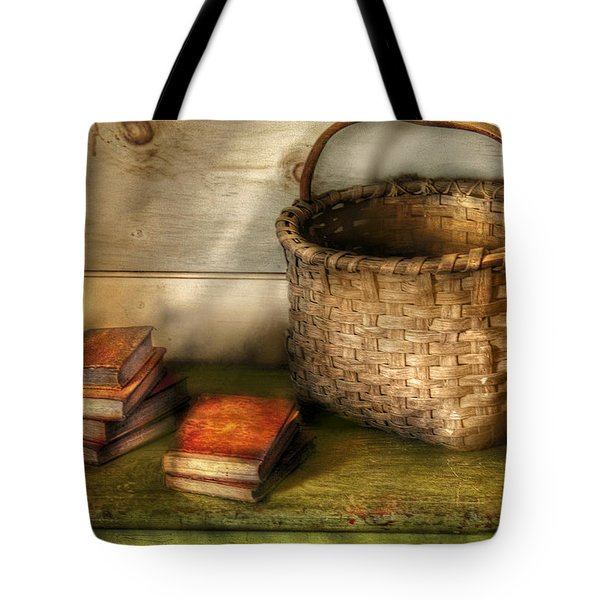 Writer - A Basket And Some Books Tote Bag by Mike Savad