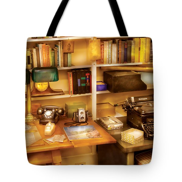 Writer - The Desk Of A Writer Tote Bag by Mike Savad