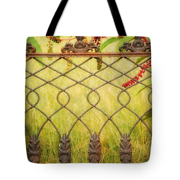 Wrought Iron With Red And Green Tote Bag by Kathleen K Parker