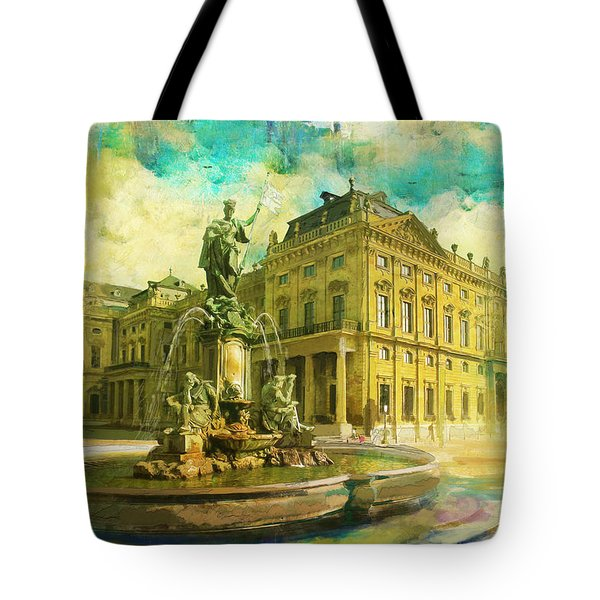 Wurzburg Residence with the Court Gardens and Residence Square Tote Bag by Catf
