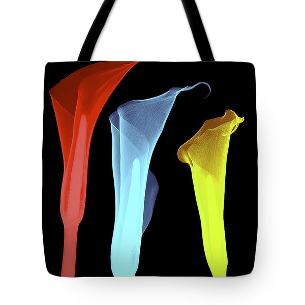 X-ray Of Three Lilies Tote Bag by Bert Myers