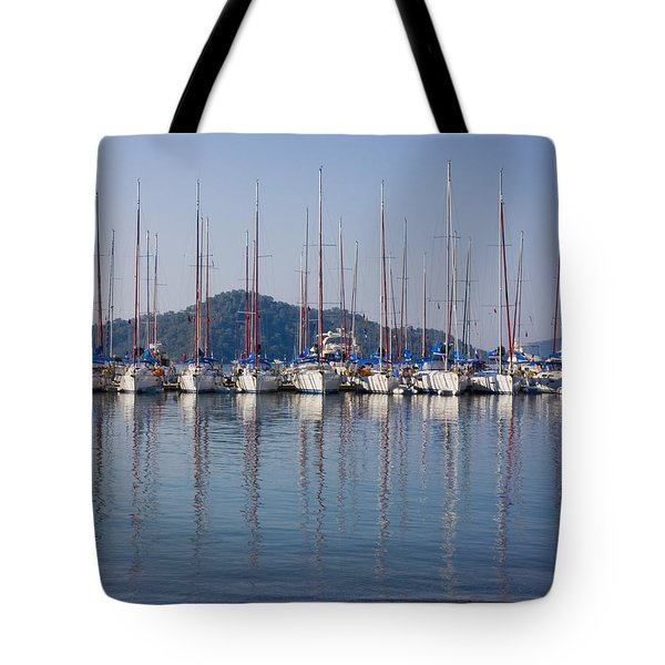 Yachts Docked In The Harbor Gocek Tote Bag by Christine Giles