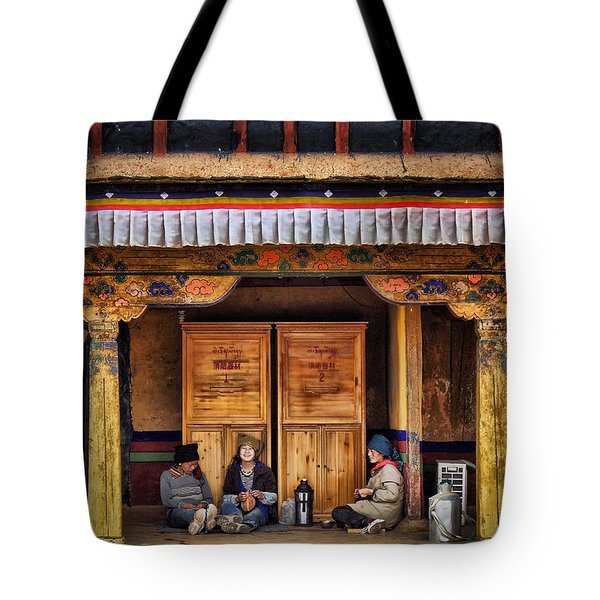 Yak Butter Tea Break At The Potala Palace Tote Bag by Joan Carroll