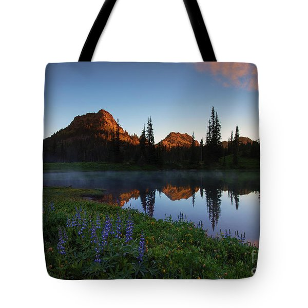 Yakima Peak Sunrise Tote Bag by Mike  Dawson