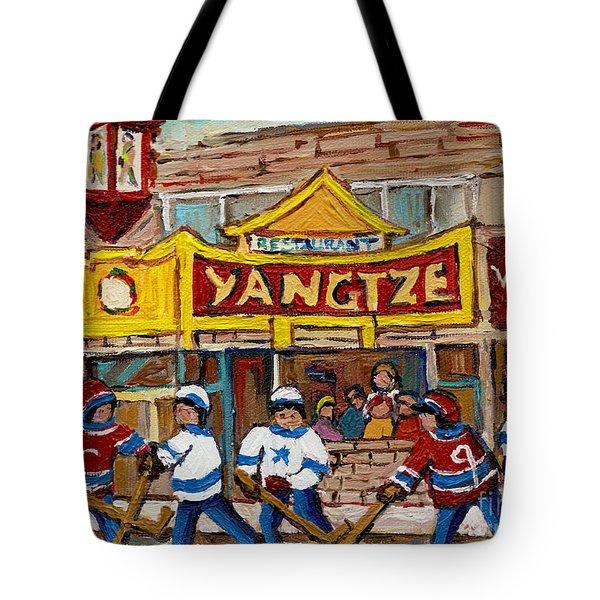 YANGTZE RESTAURANT WITH VAN HORNE BAGEL AND HOCKEY Tote Bag by CAROLE SPANDAU