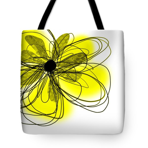Yellow Abstract Flower Art  Tote Bag by Ann Powell