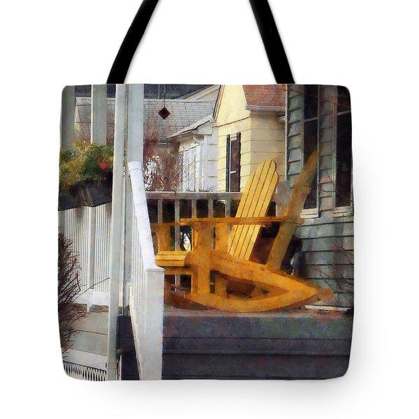 Yellow Adirondack Rocking Chairs Tote Bag by Susan Savad