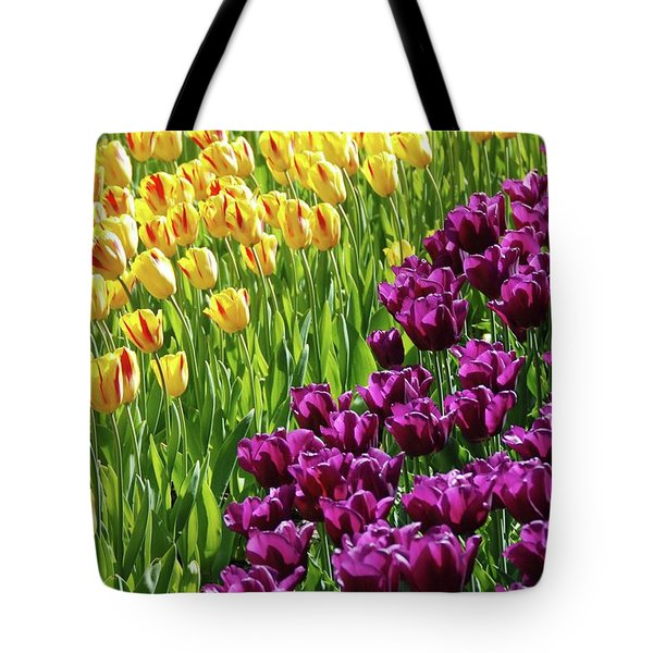 Yellow and Purple Tulips Tote Bag by Allen Beatty