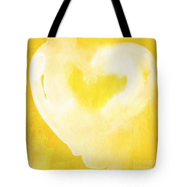 Yellow And White Love Tote Bag by Linda Woods