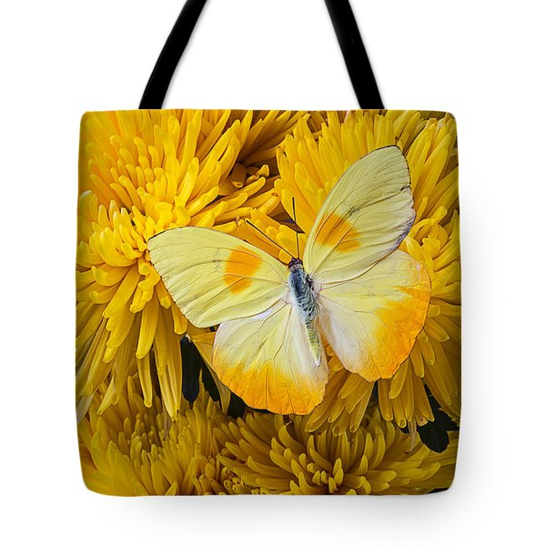 Yellow Butterfly On Yellow Mums Tote Bag by Garry Gay
