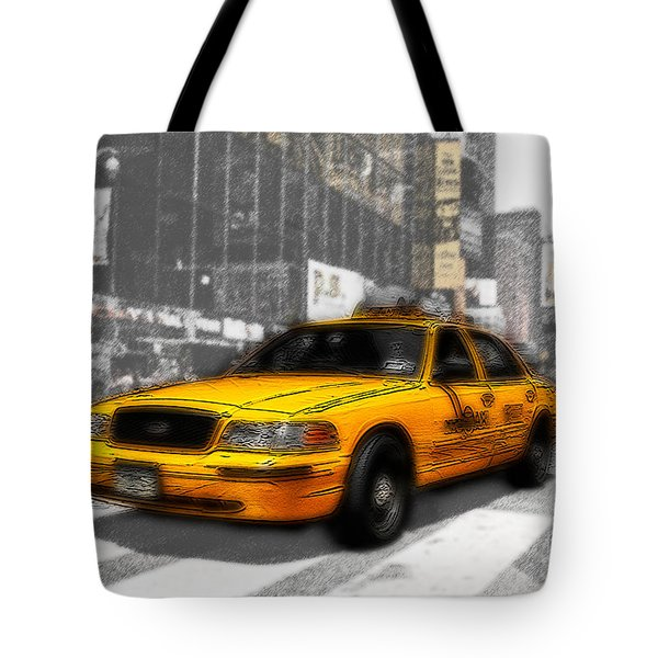 Yellow Cab at the Times Square -comic Tote Bag by Hannes Cmarits