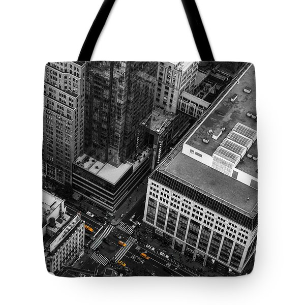 Yellow Cabs - Bird's Eye View Tote Bag by Hannes Cmarits