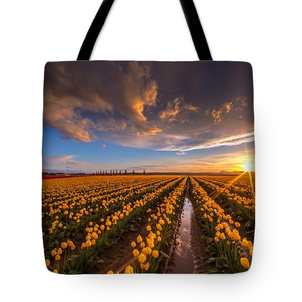 Yellow Fields And Sunset Skies Tote Bag by Mike Reid