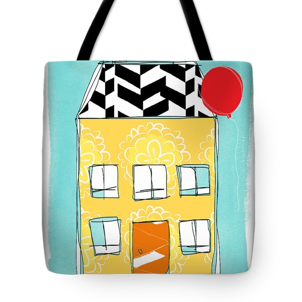 Yellow Flower House Tote Bag by Linda Woods