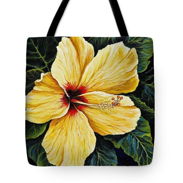 Yellow Hibiscus Tote Bag by Darice Machel McGuire
