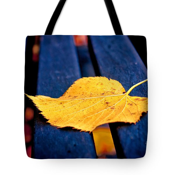 Yellow Leaf On Bench II Tote Bag by Silvia Ganora