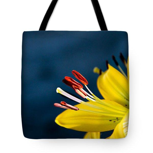 Yellow Lily Stamens Tote Bag by Robert Bales