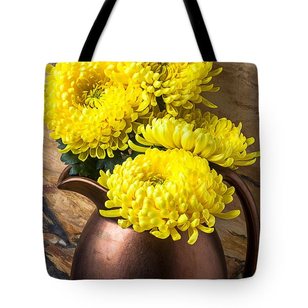 Yellow Mums In Copper Vase Tote Bag by Garry Gay