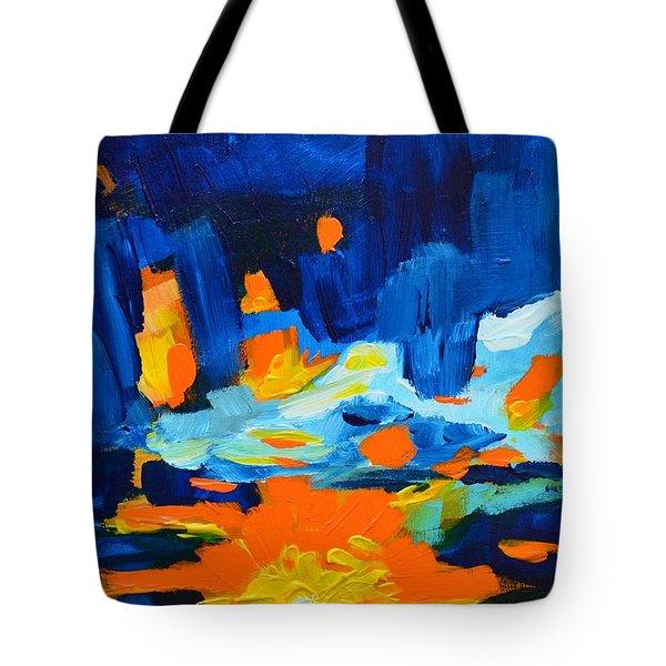 Yellow Orange Blue Sunset Landscape Tote Bag by Patricia Awapara