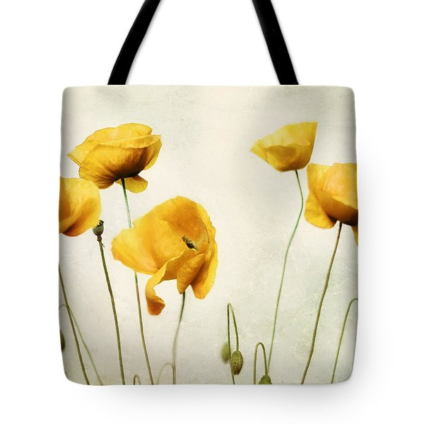 Yellow Poppy Photography - Yellow Poppies - Yellow Flowers - Olive Green Yellow Floral Wall Art Tote Bag by Amy Tyler