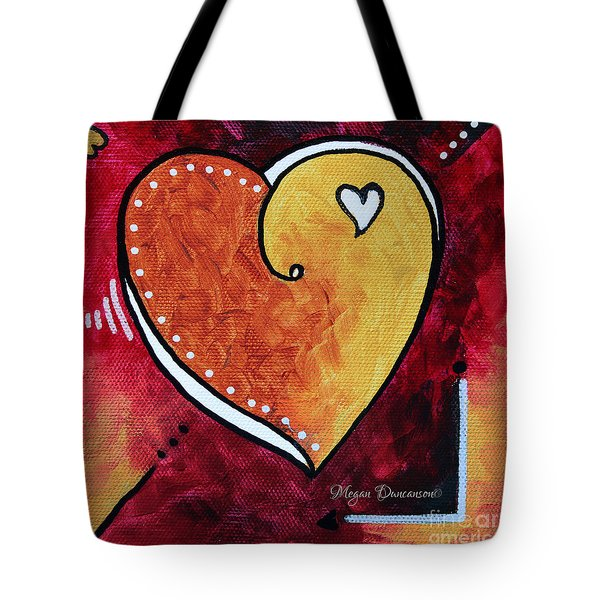 Yellow Red Orange Heart Love Painting Pop Art Love by Megan Duncanson Tote Bag by Megan Duncanson