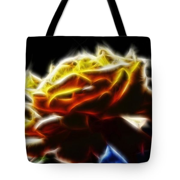 Yellow Rose Series - Neon Fractal Tote Bag by Lilia D