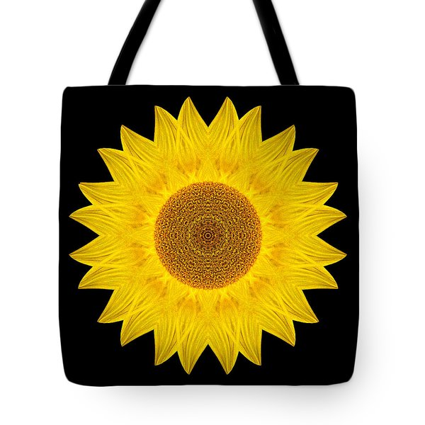 Yellow Sunflower Ix Flower Mandala Tote Bag by David J Bookbinder