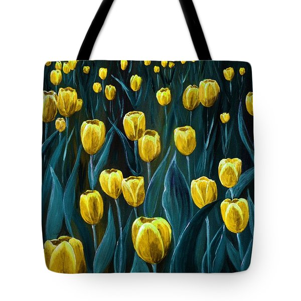 Yellow Tulip Field Tote Bag by Anastasiya Malakhova