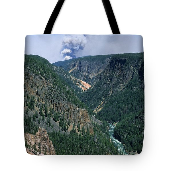 Yellowstone Afire Tote Bag by Sandra Bronstein
