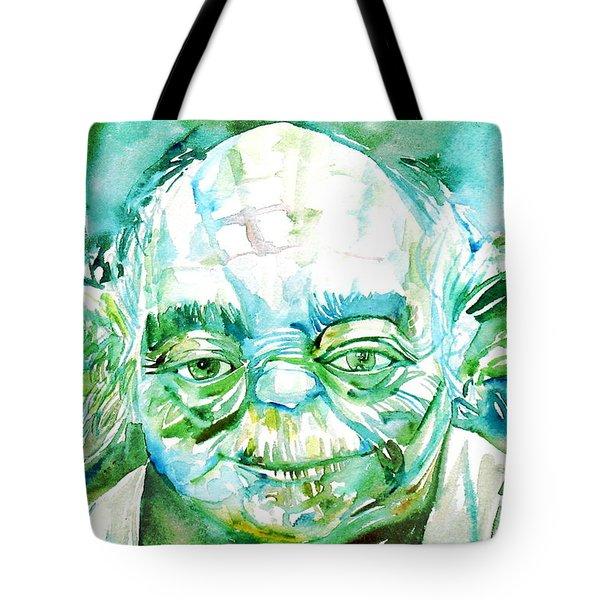 Yoda Watercolor Portrait Tote Bag by Fabrizio Cassetta