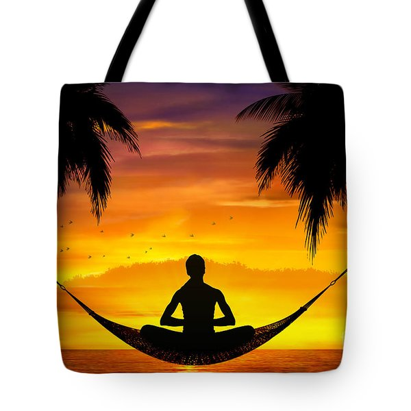 Yoga At Sunset Tote Bag by Bedros Awak