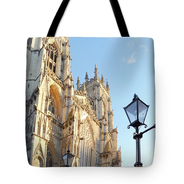 York Minster With Lampost Tote Bag by Neil Finnemore