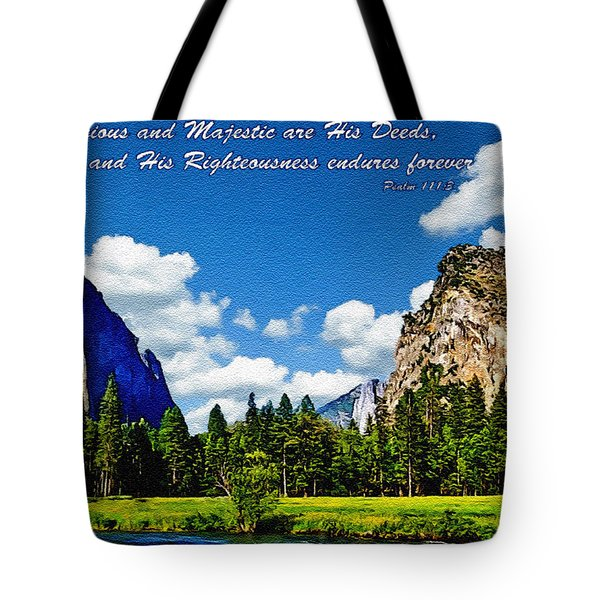 Yosemite Gods Country Tote Bag by  Bob and Nadine Johnston