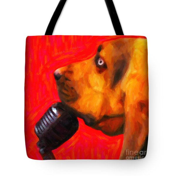 You Ain't Nothing But A Hound Dog - Red - Painterly Tote Bag by Wingsdomain Art and Photography