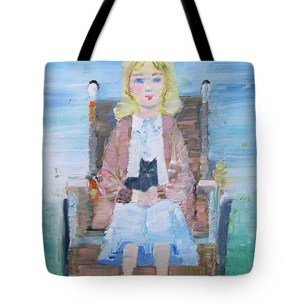 Young Girl-with Cat- On Wheelchair Tote Bag by Fabrizio Cassetta