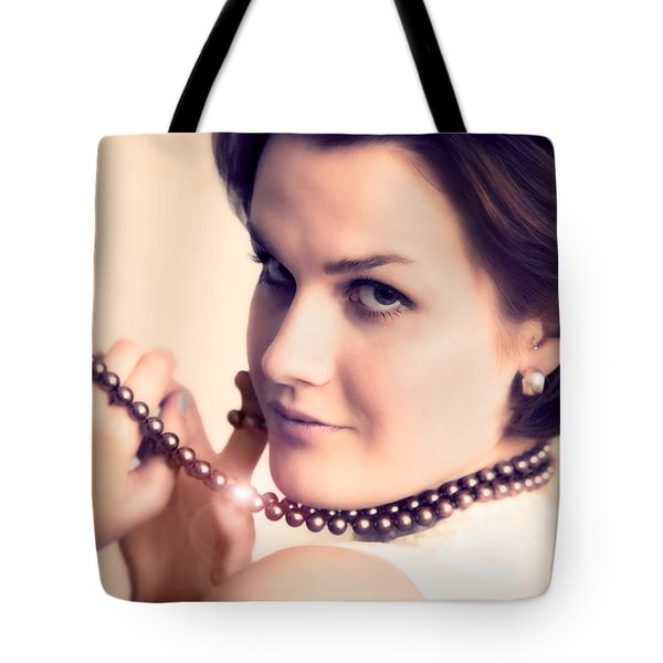 Young glamour lady with gold necklace Tote Bag by Michal Bednarek