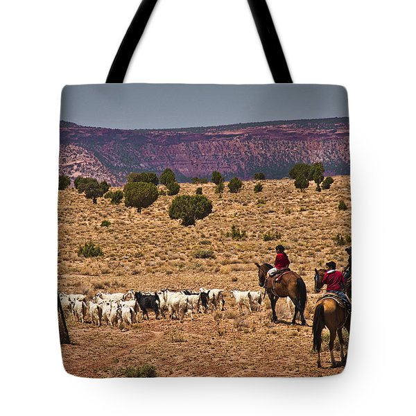 Young Goat Herders Tote Bag by Priscilla Burgers