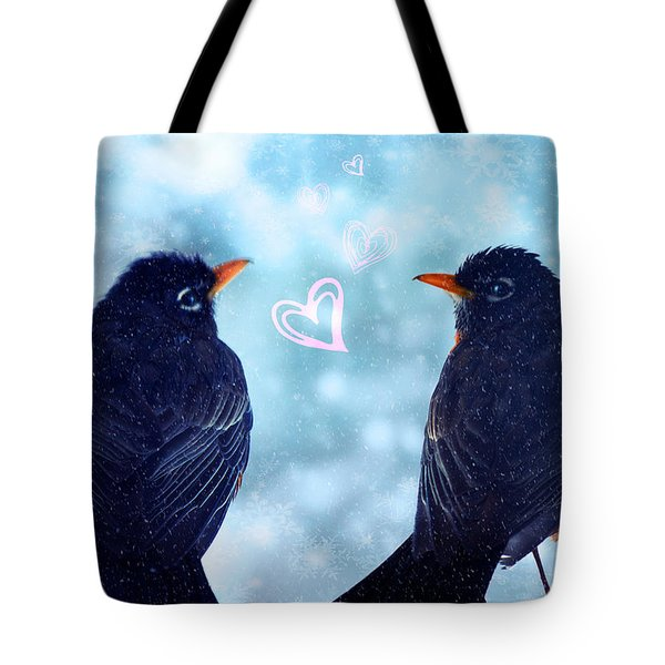 Young Robins In Love Tote Bag by Lisa Knechtel