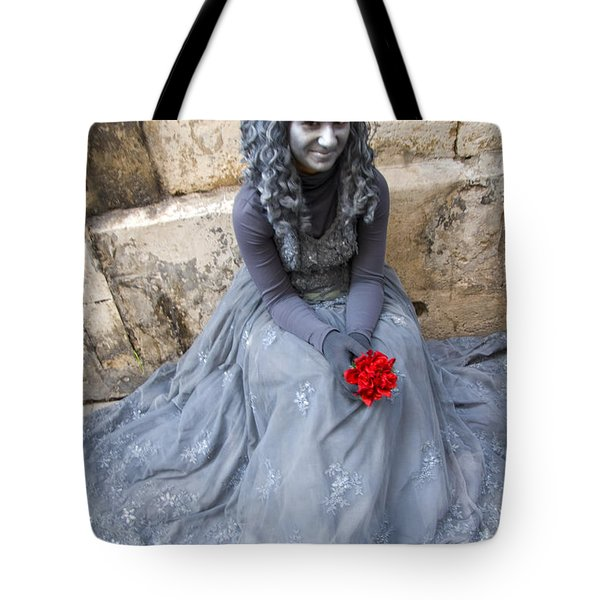 Young Woman Busker In Syracusa Sicily Tote Bag by David Smith