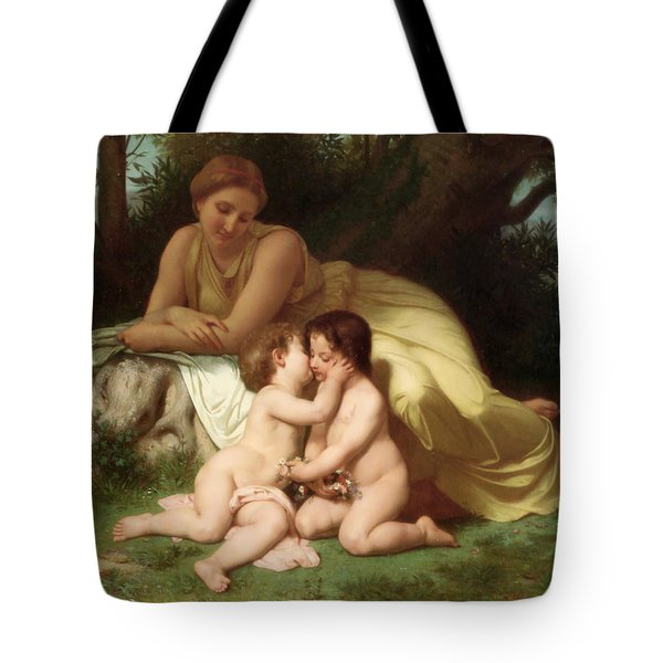 Young woman contemplating two embracing children Tote Bag by William Bouguereau