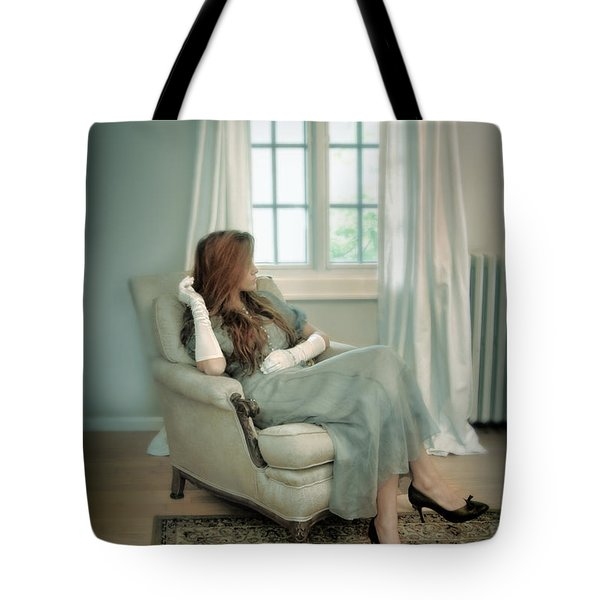 Young Woman In A Chair Tote Bag by Jill Battaglia