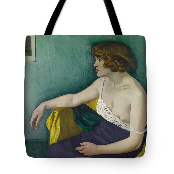 Young Woman Seated In Profile Tote Bag by Felix Edouard Vallotton