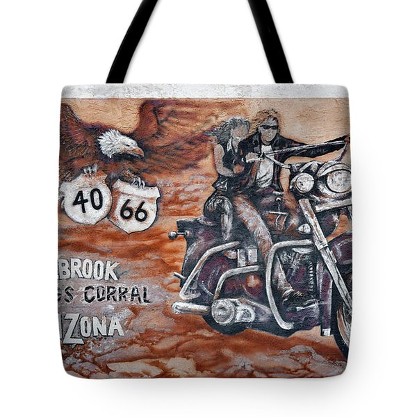 Young's Corral in Holbrook AZ on Route 66 - The Mother Road Tote Bag by Christine Till