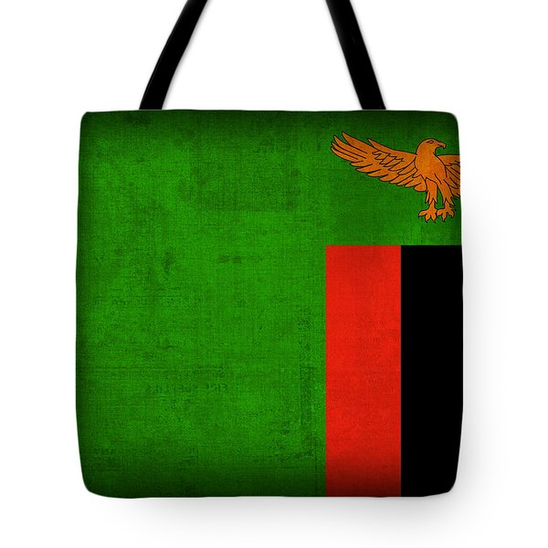 Zambia Flag Distressed Vintage Finish Tote Bag by Design Turnpike