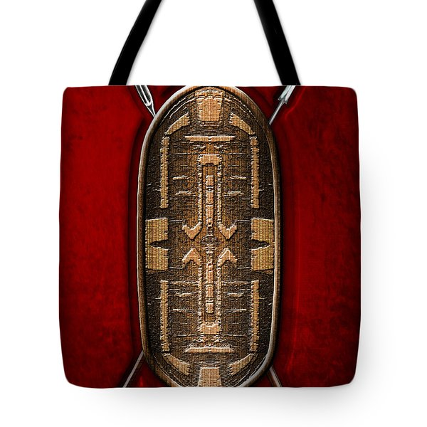 Zande War Shield with Spears on Red Velvet  Tote Bag by Serge Averbukh