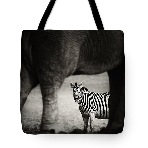 Zebra Barking Tote Bag by Johan Swanepoel