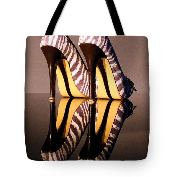 Zebra Print Stiletto Tote Bag by Terri  Waters